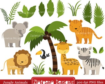 Jungle Animals Digital Clipart / Safari Animals Clip art / Zoo Animals Clipart / For Personal And Commercial Use/ Instant Download