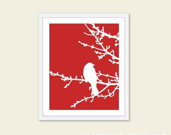 Spring Bird on Tree Digital Print - Red and White - Bird Wall Art  Spring Home Decor - Modern Bird Woodland Branches - Bird on Twig