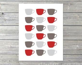 Tea Cups Art Print - Kitchen Wall Art  - Coffee Mug Tea Cup Art - Grey Red Taupe Brown