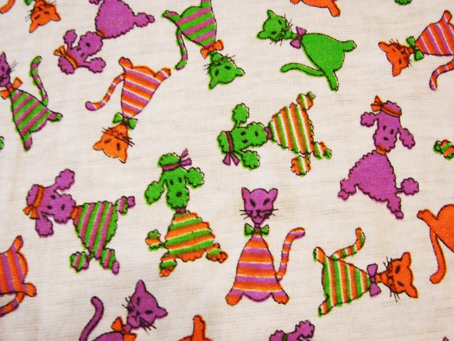 1970s fabric kids novelty fabric poodles dogs and cats animal for Kids novelty fabric