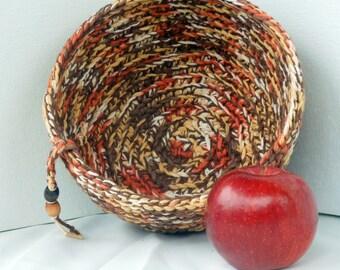 Brown Crochet Bowl  vegan thick  reclaimed USA cotton yarn chocolate caramel shades wooden beads decor