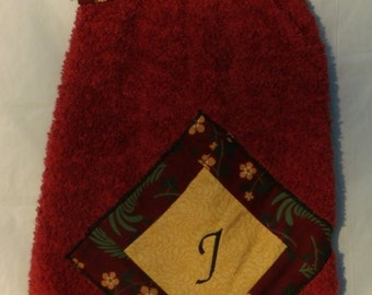 Decorated Hanging Kitchen/Hand Personalized Maroon Cotton Monogrammed Towel with the Letter J Embroidered (14)