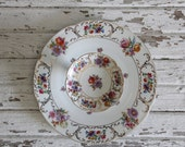 vintage two piece floral serving dish, tray / hors d'oeuvres platter, victoria dishes