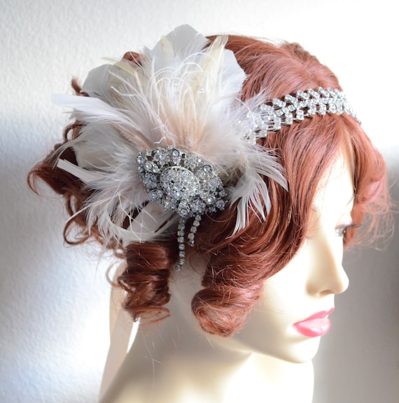 READY TO SHIP,One of a Kind,Ivory Champagne Blush Feather Flapper,Vintage Headpiece,Rhinestone brooch,French Netting,1920s Flapper headpiece