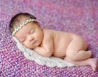 Newborn Photo Prop, Newborn Layering Blanket, Cream Photo Prop, Doily Blanket, Round Layering Blanket, Basket Filler, Basket Stuffer