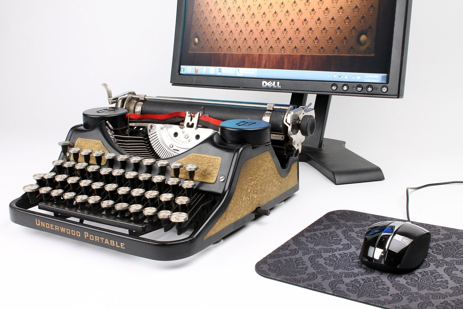 USB Typewriter Computer Keyboard and iPad Dock Gold Leaf | 1500 x 1000 jpeg 239kB
