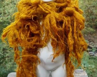 Felted Scarf Burnt Orange Honey Goldenrod Merino Wool Dr. Seuss Scarf
