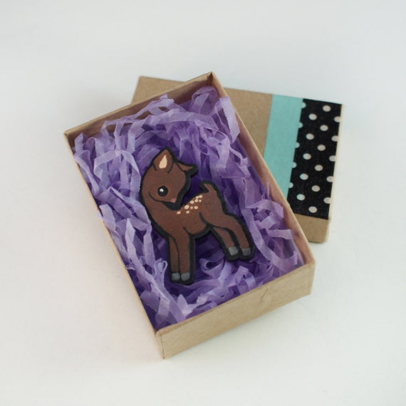Hand Painted Deer Brooch
