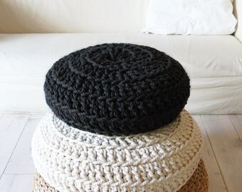Floor Cushion Crochet - Thick Cotton - black
