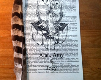 Barn Owl Family Personalized New Baby Art Print on Antique 1896 Dictionary Book Page