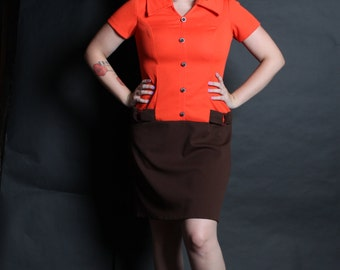 Dress VELMA 1960s Vintage 60s Brown Orange MOD Dropped Waist M Medium