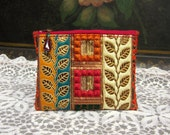 Handmade Zipper Pouch, Embroidered and Sequin Trims, Lined, Beaded Zipper Pull