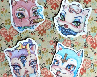 Pack of Bad Mow Mows, cat stickers from Rudy Fig, kawaii, third eye, cute, kittens, pastel, cross, kitsch , mean cats, bad kitty