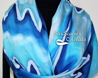Blue Rockies Hand Painted Silk Scarf. LARGE SIZE silk wrap 21x70 in Blue and Turquoise.  Made in Colorado. 100% silk. Made to order.