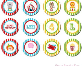 PRINTABLE Circus Party Circles (Personalized) #519