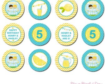 PRINTABLE Lemonade Stand Party Circles (Personalized) #545