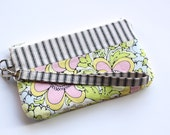 Cotton Zippered Wristlet with Detachable Strap - Cell Phone Clutch - Small Padded Purse - Pastel Flowers / Ivory and Black Stripes