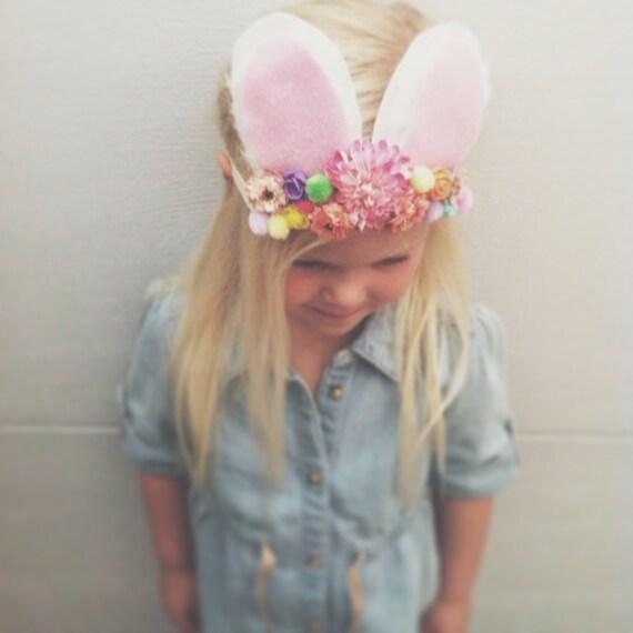 Bunny Ears Headband, Flower Crown, Easter Flower Halo, Easter Crown, Easter Halo