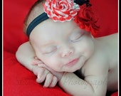 Shabby Chic Triple Rose Headband - Red/Black/CandyCane - Christmas Baby Headband - Newborn Headband - Childrens Headband - Flower Headband