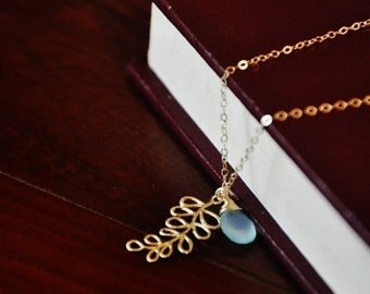Gold Leaf Necklace with Blue Chalcedony - Gold Necklace, Fern Necklace, Gemstone Necklace, Charm Necklace, Dainty Necklace, Minimal jewelry