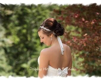 Jeweled Wedding Headband, Rhinestone Bridal Headband, Jeweled Headpiece, Crystal Hair Piece, Crystal Headband, Ribbon Headband, No. 1126HB2