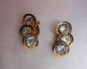 Vintage Clear Rhinestone  Clip Earrings Signed Judy Lee