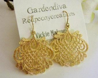 Gold Filigree Earrings Gold Medallion Dangles, Moroccan, bohemian Style, Bridesmaid earrings