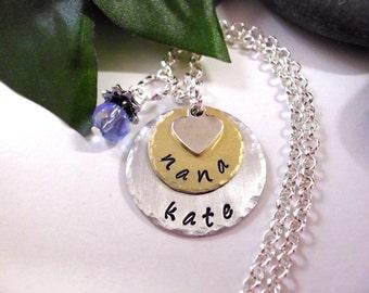 Nana Necklace, Personalized Jewelry, Hand Stamped Jewelry, Nana Jewelry, Jewelry for Nana