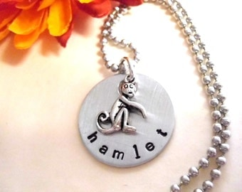 Personalized Monkey Charm Necklace, Monkey Jewelry, Monkey Necklace, Animal Jewelry