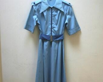 1970's Blue Dress with Belt
