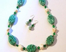 Green Mosaic Gemstone & Ivory Mother of Pearl Necklace Set, Chunky Necklace, 3 Piece Set