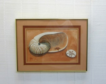 Vintage Watercolor Painting Seashell Ann Bell Original Art