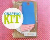 DIY Crafting Kit . Party Favor Gift Packaging Wrapping . Kraft Bags Blue and Pink Shipping Tags Paper Doilies . Bag Tag Doily