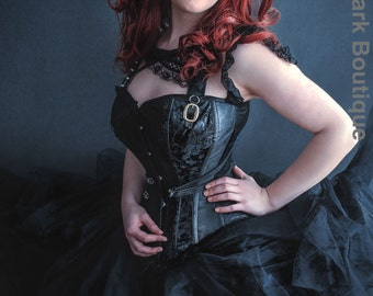 Gothic corset black steampunk punk corset costume/ cosplay. Custom made to measure