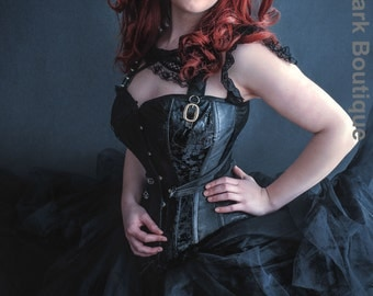 Gothic corset black steampunk punk corset costume/ cosplay. UK size 8-10