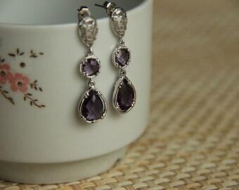 Earrings rhodium  plated hooks and amethyst,  wedding, bridesmaid, chrystal, christmas, women