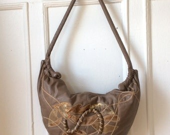 1980s Applique Hobo Bag