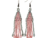 Beaded Pink and Storm Gray Earrings