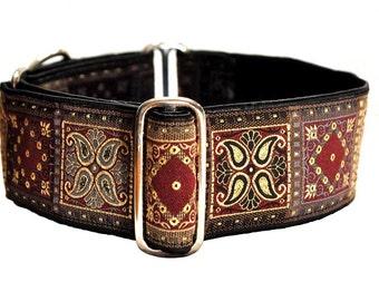 Martingale Collar or Buckle Dog Collar - Kashmir Squares Jacquard in Burgundy - 2 Inch, Greyhound Collar, Great Dane Collar, Custom Collar