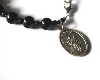 Saint Pancracio (Saint Pancras) Mens Rosary Bracelet Black Onyx Tigers Eye Turquoise Bracelet Male confirmation Gift Catholic Stone Bracelet