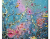 Life on the reef - art underwater sea palette knife painting home decor oil pink impasto canvas original abstract painting blue fishes ocean