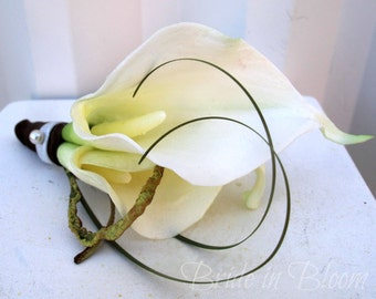 Boutonniere double white calla lily wedding boutonnieres prom graduation