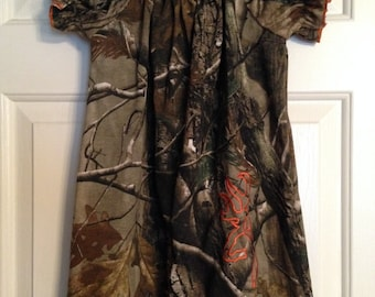 Real Tree Camo Peasant Dress size 6 months up to size 12