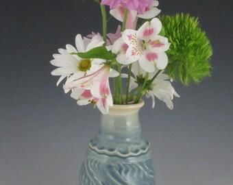 Vase Teal Blue Textured Altered