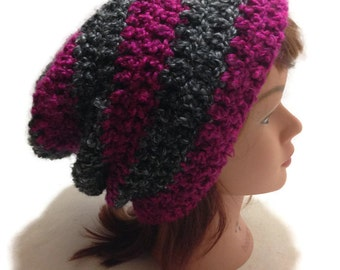 Womens Winter Beanie Crochet Slouchy Hat Fuzzy Slouchy Beanie Pink and Grey Hat Striped Hat Hipster Beanie