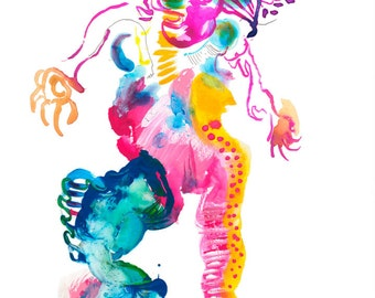 "Original Abstract Watercolor Figure Painting featuring Bright Colorful Dancer Illustration, 9"" x 12"" - A06"
