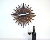 "BARREL ART - ""Radiant Clock"" - Wine Barrel Wall Art  - 100% recycled"