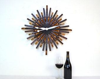 "BARREL ART - ""Radiant Clock"" - Wine Barrel Wall Art  - 100% recycled"