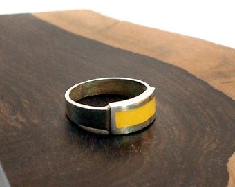 Genuine Baltic Amber Sterling Silver Inlay Ring, size 6.5