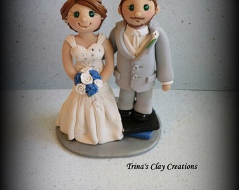 Wedding Cake Topper, Custom Bride and Groom, Groom Standing on Books, Polymer Clay, Wedding/Anniversary Keepsake